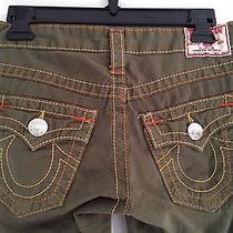True Religion Sz 26 Small 100% Cotton Army Green  Euc Joey Big T Row Seat Photo