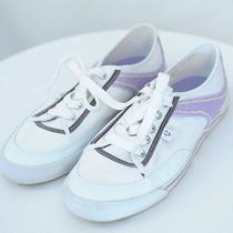 True Religion White Purple Low Top Canvas Sneakers Womens 10  Photo