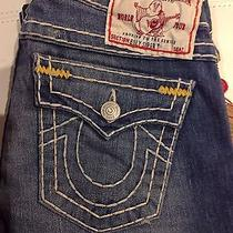 True Religion Women Billy Gold Super T Jeans Pearl Mica Nwt Size 25w Retail 318 Photo