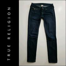 True Religion Women Slim Straight Denim Blue Jeans Size 24  Photo