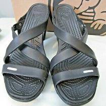 Truly Barely Used Woman's Black Heeled Crocs Sandals - Cyprus Iv Size 9 Photo