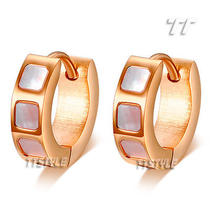 Ttstyle 4mm Stainless Steel Mother Pearl Hoop Earrings Three Colour Available Photo
