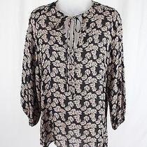 Tucker Women's Black Blush Beta Fish Print Silk Shirt Top Blouse Sz S Photo