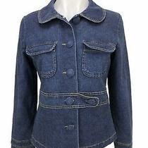 Tulle Anthropologie Womens Size L Jacket Denim Fitted Lined Stretch Blazer Photo