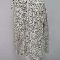Tulle Brighton Cream Black Dot Pleated Faux Wrap Tie Waist Skirt Sz L New Nwt Photo