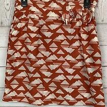 Tulle by Anthropologie Dark Coral Silk Blend Print Skirt Size Small With Pockets Photo