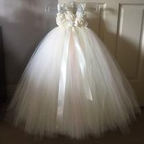 Tulle Flower Girl Dress Ivory/blush Pink Custom Tutu Birthday Ball Gown Pageant Photo