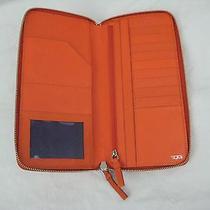 Tumi Prism Id Credit Card Leather Zip Passport Wallet Orange Sunrise 14472 Photo
