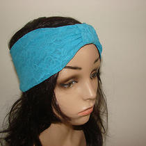 Turqoise Blue Lace Turban Headband Jersey  Boho Tribal Stretchy Yoga Headband Photo
