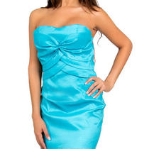 Turquoise Aqua Blue Mini Club Cocktail Strapless Satin Pencil Jr Dress Size L Photo