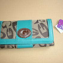 Turquoise Aqua Detach Check Book Women Wallet 1 Id 18 Card Slot 5 Open Pkt New Photo