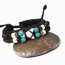 Turquoise Bead Shark Tooth Fossil Black Leather Friendship Wristband Bracelet Photo