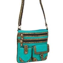 Turquoise Blue Faux Leather Patent Crossbody Messenger Side Bag Western Studded Photo