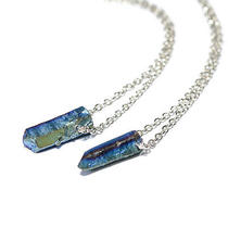 Turquoise Blue Galaxy Crystal Short Necklace-Bullet Stone Boho-Quartz Jewellery  Photo