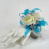Turquoise Blue Silk Rose Fantasy Wrist Corsage Photo