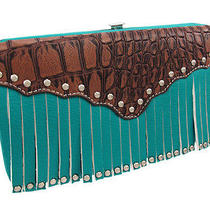 Turquoise Blue Studded Fringe Hard Wallet Brown Mock Croc Trim Photo
