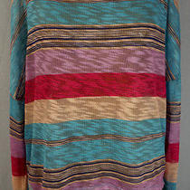 Turquoise Coral Striped Burn Out  Sweater Slub Mossimo Oversize Size Xl  Photo