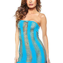Turquoise Cutout Tube Dress by Fantasy Lingerie One Size Exotic Dancer Dress Photo