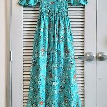 Turquoise Floral Smocking Off-Shoulder Maxi Dress M W/ Anthropologie Earrings Photo