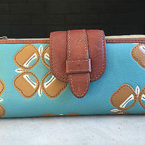 Turquoise Flowers and Whiskey Leather Wallet by Fossil Photo