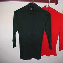 Turtleneck Lot  Sleeves Red Green Gap Express Cotton Pima Stretch Shirt Top  Photo