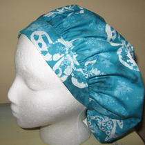 Turtles Aqua Batik Womens Surgical or Scrub Cap Hat Bouffant New Photo