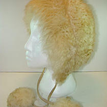 Tuscan Lamb Skin Fur Sheepskin Hat Cossack Made in Italy One Sz Beige Photo
