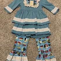 Tutu Lulu Boutique Swing Top Dress & Bell Pants Sz 3-4t Blue Photo