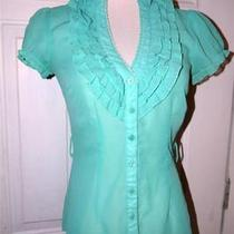 Twentyone Mint Aqua Blue Ruffle Front Button Top Blouse Shirt Medium Mod Photo