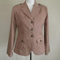 Twiggy London Military Style Blush Beige Blazer Cotton Size (S) Utility Jacket Photo