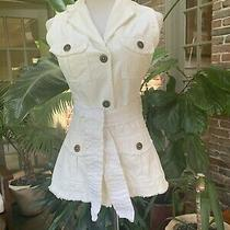 Twill Twenty Two Small White Long Snap Button Belted Vest Anthropologie Photo