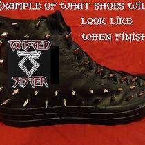 Twisted Sister Metal Punk Custom Studded Converse Shirt Sneakers Shoes W Spikes Photo