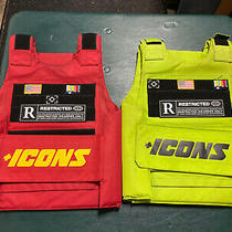 Two (2) Hudson Icons Outerwear Vests Red & Lime Green One Size Adjustable Photo