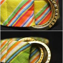 Two 2 Ralph Lauren Striped Linen Belts With Gold Buckles Bright Colors Lot Euc Photo
