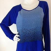 Two by Vince Camuto New Bright Blue Tiered Raglan Sleeve Tee Blouse Top L Nwt  Photo