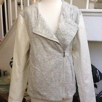 Two by Vince Camuto White/heather Grey Motorcycle Jacket Large Nwot Photo