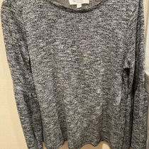 Two by Vince Camuto Women Top Sz S Grey Long Bell Sleeves Sweater Solid Metalic Photo