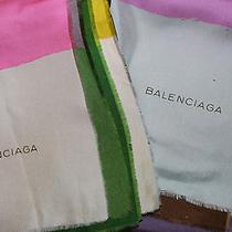 Two Classic  Balenciaga Vintage Graphic Silk Scarves  Photo