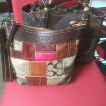Two Coach Patchwork 10435 & F15459 Brown Shoulder Tote Bags Photo