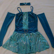 Two Costumes Aqua Foil Jazz/tap Pageant Competition Dance Outfit Girls Child Med Photo