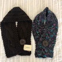 Two Fossil Tori Button Chunky Scarves - One Chocolate One Purple/gray Multi Photo