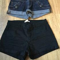 Two Pairs of Denim Shorts Size Eur 34 Uk 6 Black Blue Photo