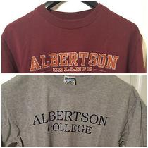 Two Used Albertson College of Idaho Shirts (Jansport & Gildan) Size Medium Photo