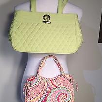 Two Vera Bradley Purses 1 Solid Green the Other Pink and Green Photo