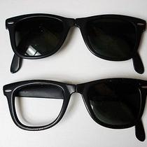 Two Vintage b&l Ray Ban u.s.a. Wayfarer Black Folding Sunglasses for Restoration Photo