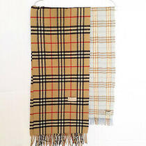 Two Vintage Burberry Scarves Nova Check Pure Cashmere and Blue Lambswool Merino Photo