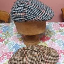 Two Vintage Tweed Wool Mens Hat Flat Cap Christys Dunn & Co Country Living Photo