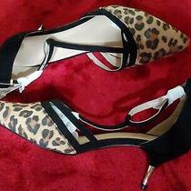 Ty Avon T-Strap Kitten Heels Sandal 8 New Animal Print  Photo