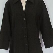 U1 Grace Elements Womens 8 Dark Brown v Neck Button Stretch 3/4 Slv. Dress Shirt Photo