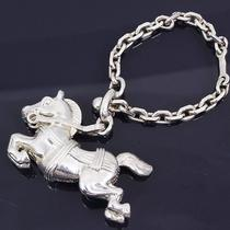 U2440h Authentic Hermes Key Chain Ring Animal Charm Horse Sterling Silver 925 Photo